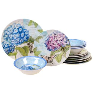 Marquis Hydrangea 12 Piece Melamine Dinnerware Set, Service for 4