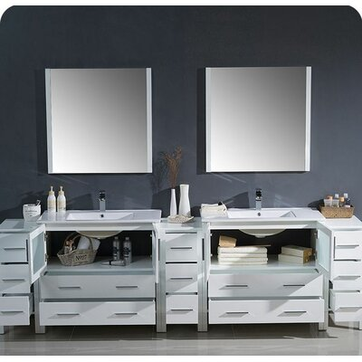 "Bathroom Vanities Lakeland Fl red barrel studio halcomb 92"" double bathroom vanity set with"
