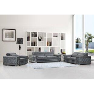 Orren Ellis Hawkesbury Common Luxury Italian Upholstered Complete Leather 3 Piece Living Room Set