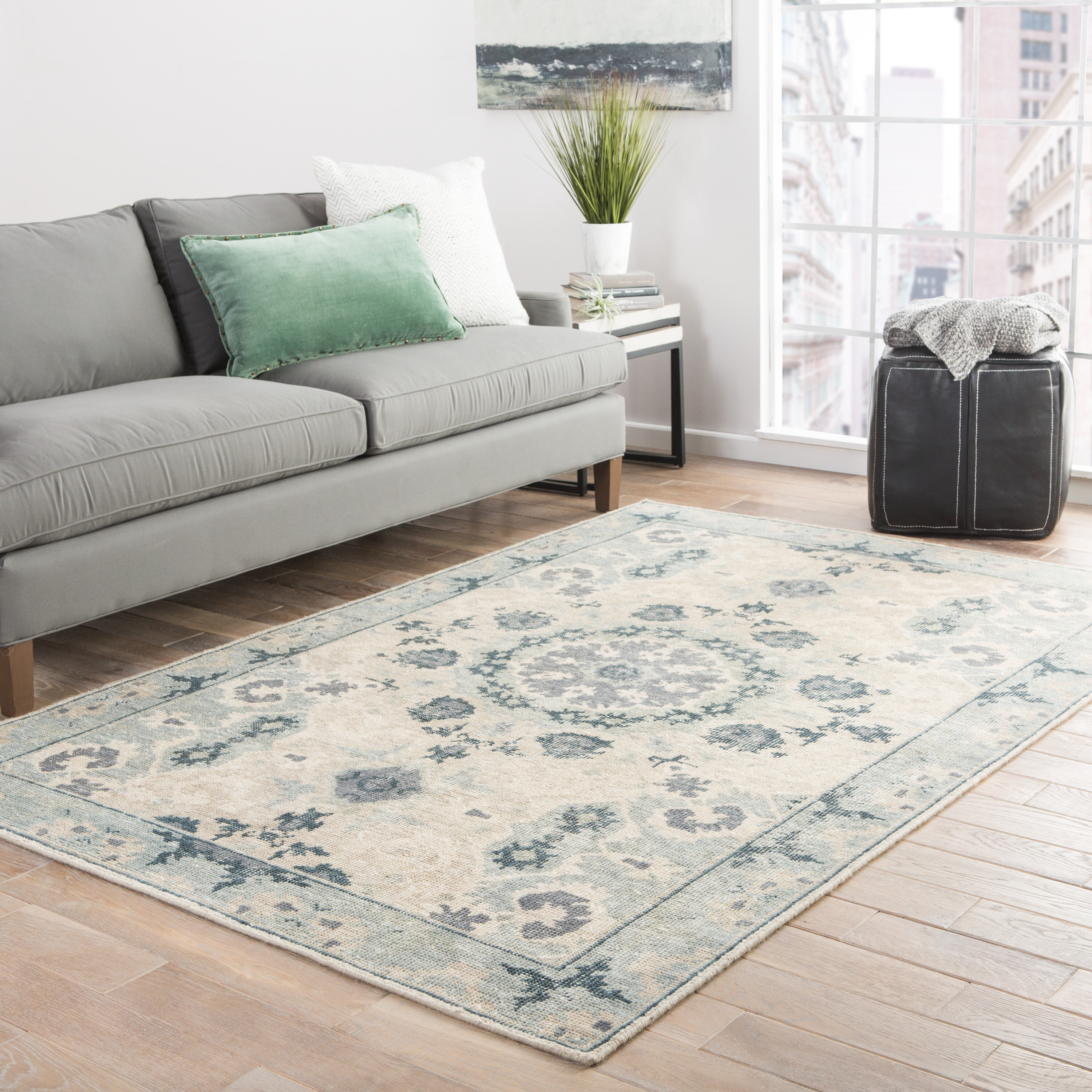Salon Taupe Et Turquoise kamren oriental hand-knotted wool taupe/gray/blue area rug