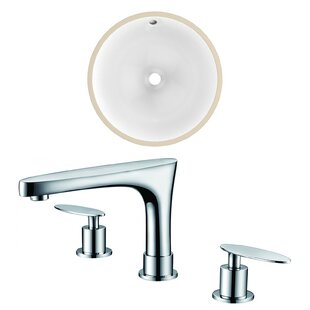 Top Reviews CUPC Ceramic Circular Undermount Bathroom Sink with Faucet and Overflow ByAmerican Imaginations