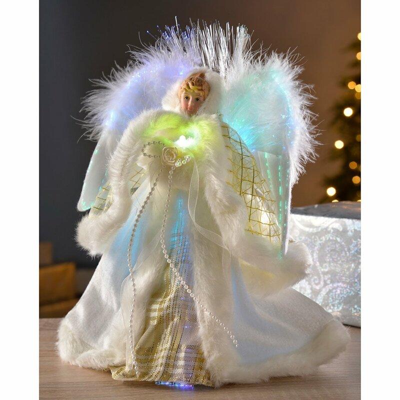 Cat Angel Christmas Tree Topper: The Seasonal Aisle Pre-Lit Fibre Optic Angel Christmas