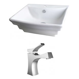 Ceramic 20 Wall Mount Bathroom Sink with Faucet and Overflow ByAmerican Imaginations