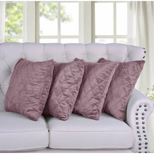 Border Quilted Faux Fur Pillow Cover (Set of 4)
