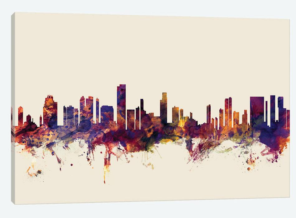 East Urban Home Skyline Series Honolulu Hawaii Usa On Beige Painting Print On Wrapped Canvas Wayfair