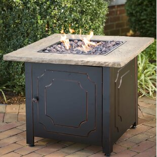 Plow & Hearth Chiseled Stone Propane Fire Pit Table