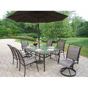 August Grove Basile 7 Piece Dining Set with Umbrella