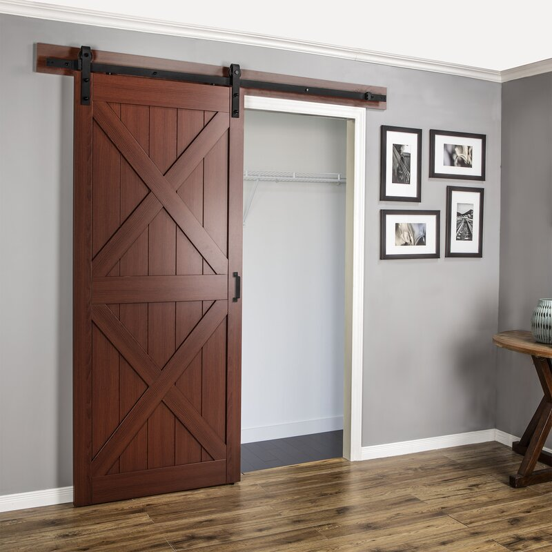 Renin Paneled Manufactured Wood Finish Continental Barn Door With Installation Hardware Kit Reviews Wayfair