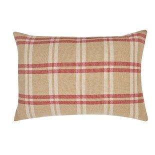 Check Decorative Linen Lumbar Pillow