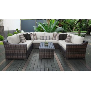 kathy ireland Homes & Gardens River Brook 9 Piece Outdoor Wicker Patio Furniture Set 09c by TK Classics