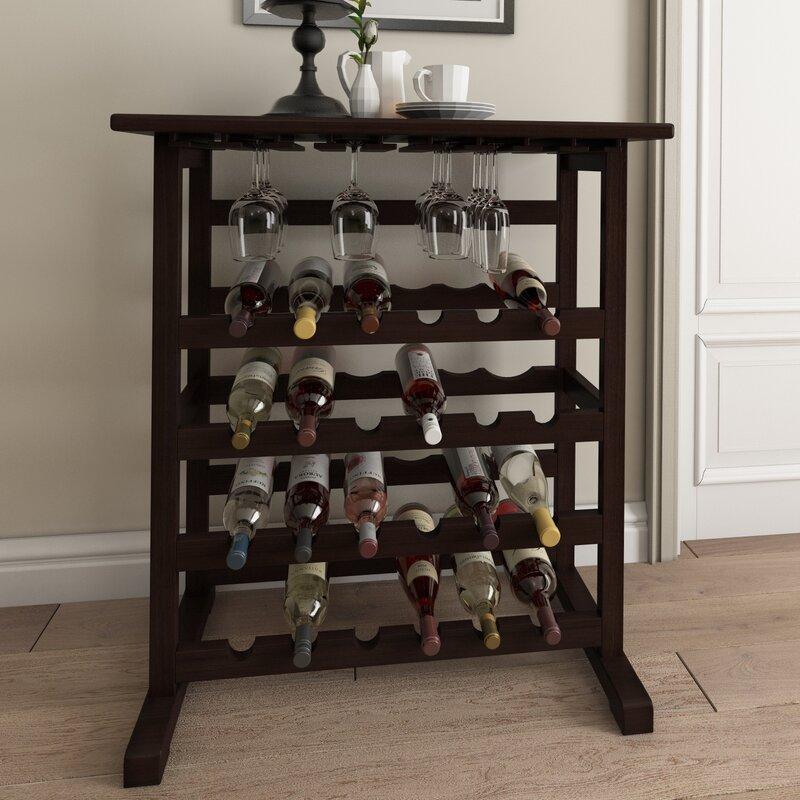 Andover Mills Newhall 24 Bottle Floor Wine Bottle & Glass Rack in Dark Espresso