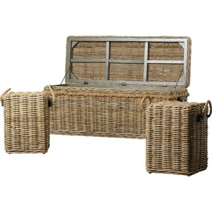 Roscoe Wicker Storage Entry Bench by Longshore Tides