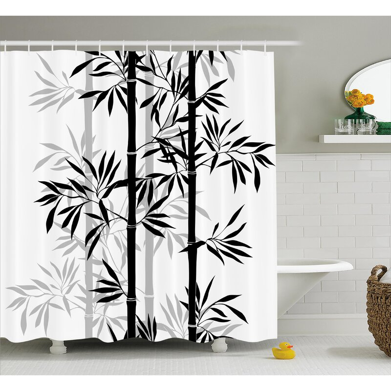Bloomsbury Market Basil Bamboo Tree Leaves Zen Shower Curtain Hooks Reviews