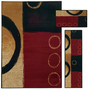 Reviews Westview 3 Piece Red/Black Area Rug Set By Threadbind