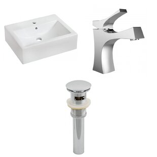 Savings Ceramic 16 Wall Mount Bathroom Sink with Faucet and Overflow By American Imaginations