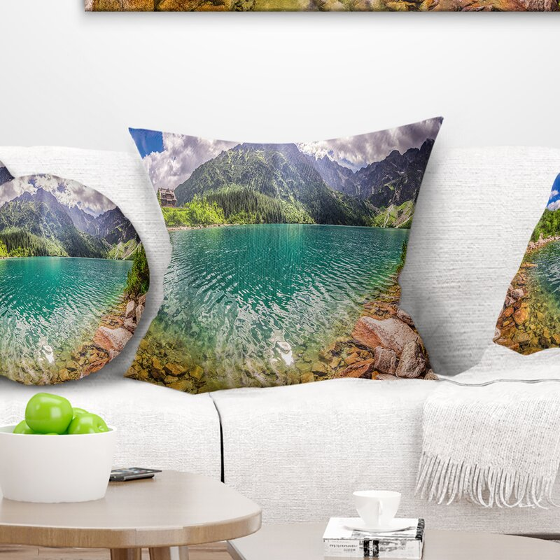 East Urban Home Landscape Printed Amazing Tatra Mountains Lake Pillow Wayfair