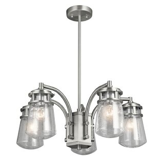 August Grove Biscay 5-Light Outdoor Chandelier