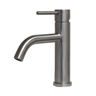 Whitehaus Collection Waterhaus Solid Stainless Steel Single Hole Bathroom Faucet with Drain Assembly