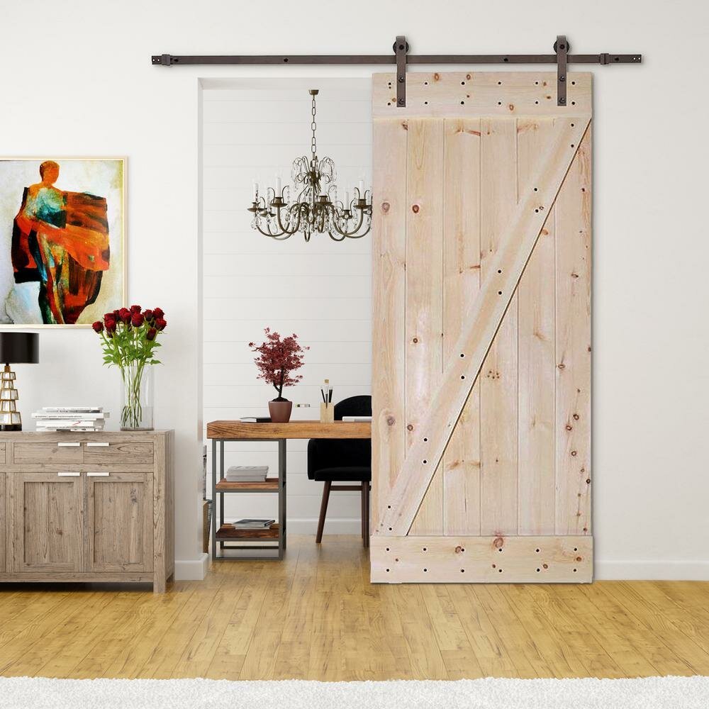 Calhome Paneled Wood Unfinished Complete Interior Barn Door With Installation Hardware Kit Included Wayfair