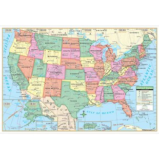 Wall maps youll love wayfair united states primary mounted wall map gumiabroncs Image collections