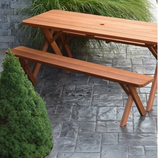 Rowland-Coman Solid Wood Picnic Table by August Grove