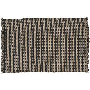 Compare prices Basketweave Hand-Woven Tan/Black Area Rug By Park Designs