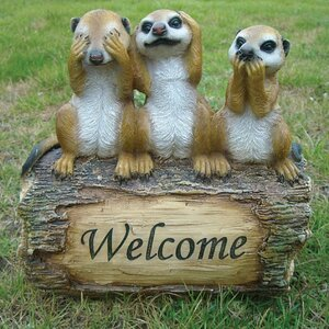 Meerkat Stands on the Welcome Card Resin Sign Statue