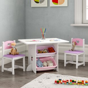 Heart Children's 3 Piece Arts And Crafts Table And Chair Set By KidKraft