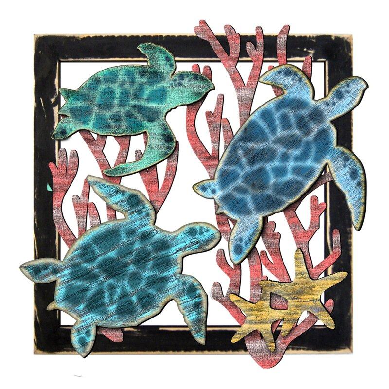Recycled Painted Wood Fish Set Wall Decor Sculptures Coastal Nautical Beach Sea