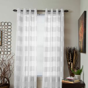 Bold Striped Sheer Grommet Single Curtain Panel
