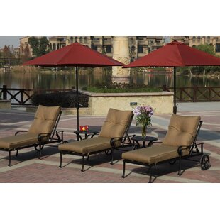 Darby Home Co Lanesville 5 Piece Chaise Lounge Set with Cushions
