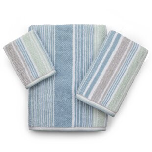 Sherell Stripe 3 Piece 100% Cotton Towel Set