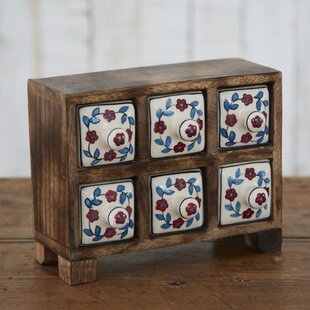 Fair Trade Flower 6 Ceramic Drawer Jewelry Box by Paper High