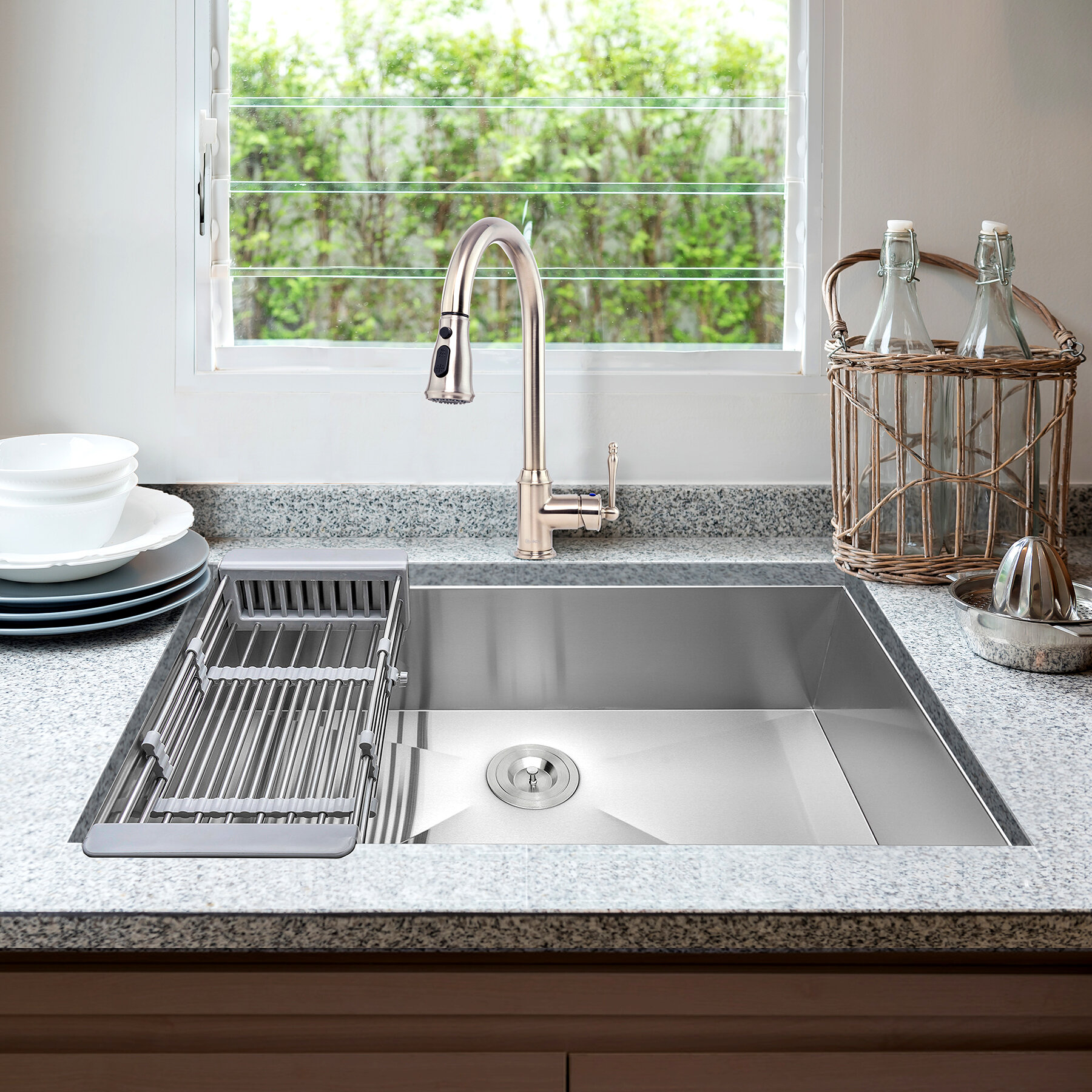 Akdy 33 L X 22 W Undermount Kitchen Sink With Faucet And Basket Strainer Wayfair