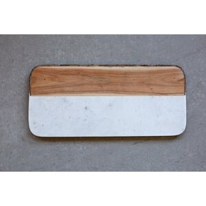 White Marble and Mango Wood Cheese Tray
