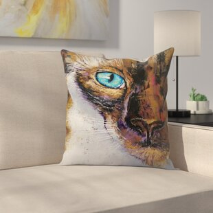 Michael Creese Siamese Cat Painting Throw Pillow