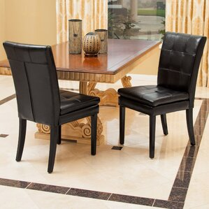 Grace Genuine Leather Upholstered Dining Chair (Set of 2) by Home Loft Concepts