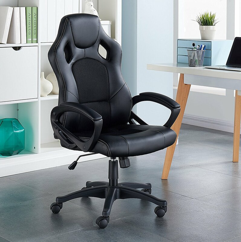 Adjustable Ergonomic Lumbar Support Swivel High Back Mesh And Leather  Executive Chair