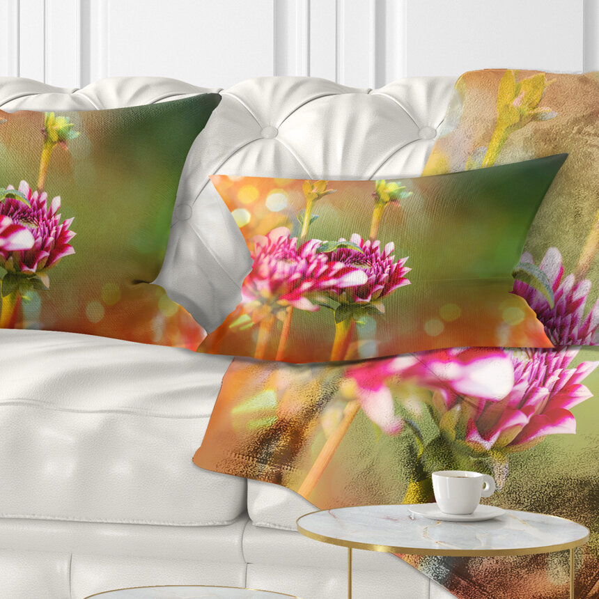 East Urban Home Flowers On Blurred Background Lumbar Pillow Wayfair