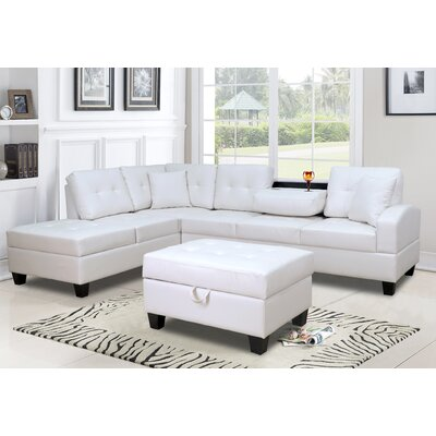 Ebern Designsmoison 110 Faux Leather Left Hand Facing Corner Sectional Ebern Designs Fabric White Faux Leather Dailymail