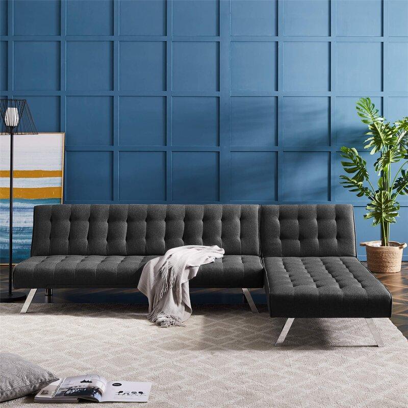 Latitude Run Asyiah 100 Reversible Sleeper Sofa Chaise Wayfair