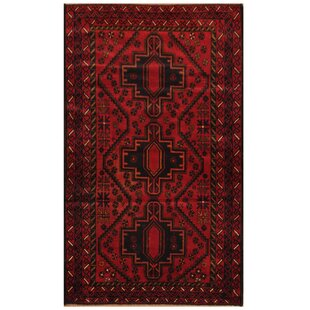 Top Reviews One-of-a-Kind Ebron Hand-Knotted 2'9 x 4'7 Wool Red/Black Area Rug ByBloomsbury Market