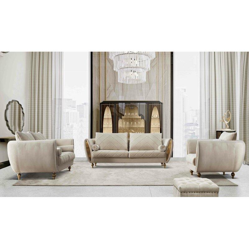 Everly Quinn Vaughan 3 Pieces Standard Sipario Vita Modern Living Room Set Wayfair