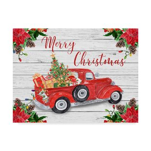 vintage red truck christmas graphic art print on wrapped canvas