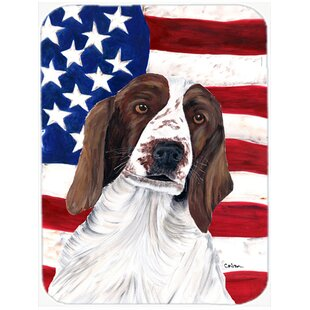 Patriotic USA American Flag with Welsh Springer Spaniel Glass Cutting Board By Caroline's Treasures