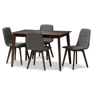 Faning Upholstered 5-Piece Dining Set Wrought Studio