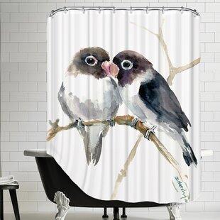Gray Masked Lovebirds Single Shower Curtain