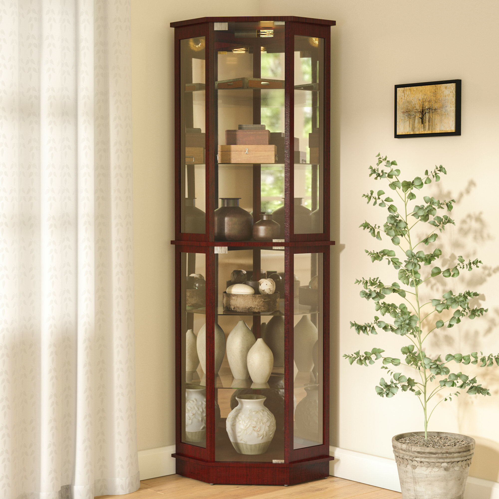 Ordinaire Andover Mills Biali Lighted Corner Curio Cabinet U0026 Reviews | Wayfair