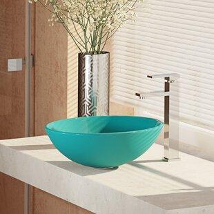 Compare , Cerulean Glass Circular Vessel Bathroom Sink with Faucet ByRené By Elkay
