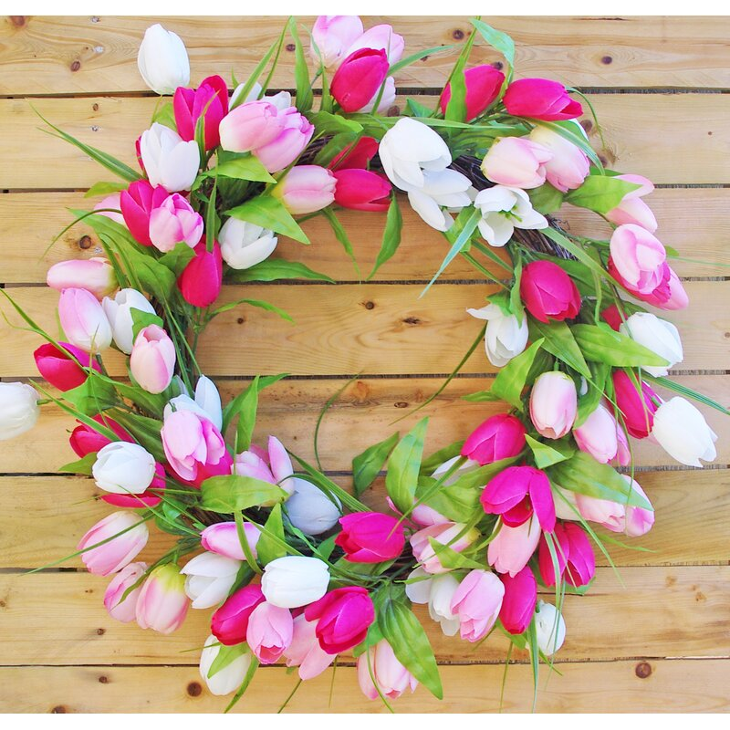 Garden Decor Spring Wreath Easter Whimsical Tulip Mother/'s Day Gift Eggs Spring Kale and Rose Wreath Tulip Twist Easter Wreath